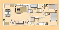 Floor Plan of our 640 sq ft Daybreak floor plan using 2 x 40' Shipping Containers.
