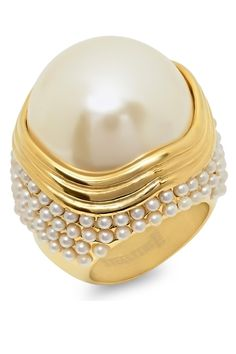 Faux Pearl Ribbed Cocktail Ring from HauteLook on shop.CatalogSpree.com, your personal digital mall.