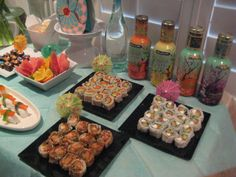 Japanese Party Ideas | The Sushi is from our local grocery store, I just arranged the sushi ...