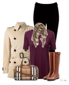 """Burberry"" by ksims-1 ❤ liked on Polyvore featuring мода, Warehouse, Burberry и Doublju"