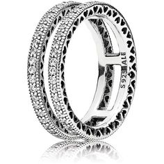 Pandora Ring - Sterling Silver & Cubic Zirconia Double Hearts of... ($115) ❤ liked on Polyvore featuring jewelry, rings, silver, heart jewellery, heart shaped cubic zirconia rings, sterling silver jewellery, sterling silver rings and heart shaped rings