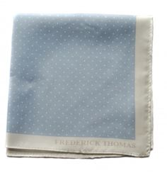 light blue and white pin spotted pocket square with white edging