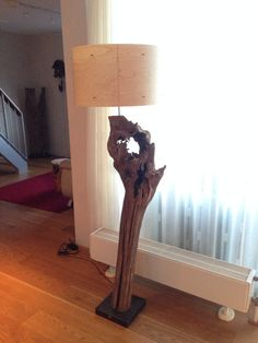 Tree Stump Floor Lamp made from old oak trunk. by GBHNatureArt