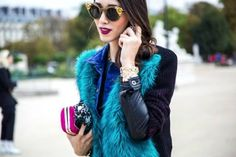 Turquoise Blue Fur Vest / Jacket - Fuchsia Pink Clutch - Street Style - Fashion Week