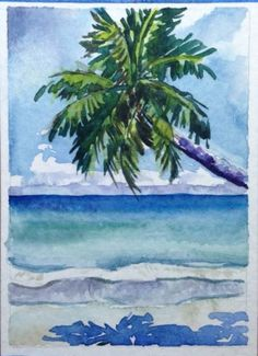 Aceo Vosberg Watercolor Palm Tree Tropical Beach