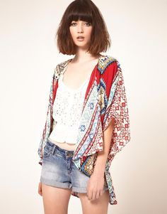 Band Of Gypsies Kimono Jacket In Aztec Print by Band of Gypsies