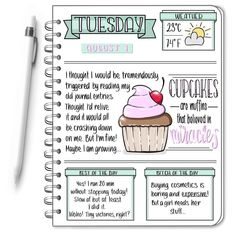 I wanna be a cupcake! I wanna be a cupcake! Daily Bullet Journal, Bullet Journal Cover Ideas, Bullet Journal Spread, Bullet Journal Inspiration, Bullet Journals, Journal Sample, My Journal, Journal Pages, Diary Writing