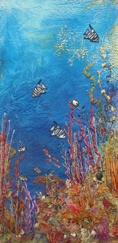 Ana Sumner underwater reef tapestry embroidery art