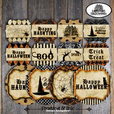 Halloween Party - Complete Collection - Toppers, Bunting Banner, Party Signs, Favor Tags, Bottle Labels, Wraps & More - Customized Printable. $38.00, via Etsy.
