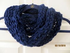 Handmade Finger Knit Navy Infinity Scarf by MistyMountainYarns on Etsy