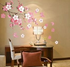 Make your home more wonderful and comfortable. Plum Blossom Flowers Butterfly Wall Decal Home Sticker (DESIGN 1, 1)