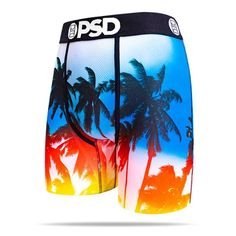 The Palms men's boxer brief featuring palm trees against a vibrant sky blue. The perfect pair for your next beach trip. Visit PSD Underwear for more designer men's briefs. Best Underwear, Boxers Underwear, Men's Boxer Briefs, Girl Boxers, Most Comfortable Underwear, Baddie Outfits Casual, Casual Attire, Long Sleeve Tee Shirts, Traditional Fashion