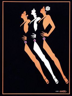 Richard Amsel's 1977 art for Formerly of the Harlettes' concert posters & self-titled album cover (1978)