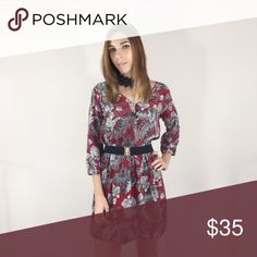 Red Paisley Dress Beautiful red Paisley print dress featuring 3 buttons down the front & cinched waist. Belt not included. S,M,L Dresses