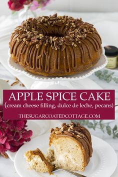 Apple Spice Bundt Cake with Cream Cheese Filling Bundt Cake Pan, Bundt Cakes, Cupcake Cakes, Cupcakes, Cream Cheese Filling, Cake With Cream Cheese, Fall Desserts, Delicious Desserts, Cookie Recipes
