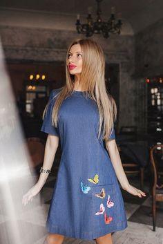 Джинсовые платья 2017 (184 фото): модные новинки, с кружевом, с открытыми плечами