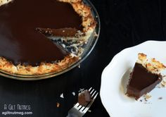Coconut Chocolate Pie - basically a giant coconut macaroon with luscious chocolate inside.  Perfect for Passover or any Spring table!