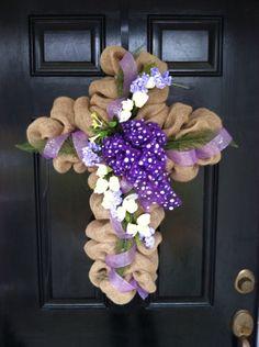 Large Elegant Burlap Cross Wreath Easter Mothers Day Spring Summer Door Wall Decor Brown White Ribbon Bow Cream Floral Arrangement