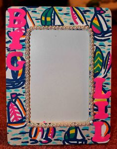 Lilly Pulitzer Inspired You Gotta Regatta Big and Little Sorority Frame Craft with Pearls