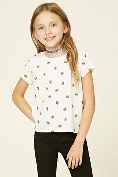 Forever 21 Girls - A knit tee with short sleeves, a round neckline, a vented hem, and an allover burger print.