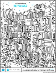 Free downloadable bookstore coloring page. For every re-pin this gets, we'll donate a book to a child in need! #GiveBooks