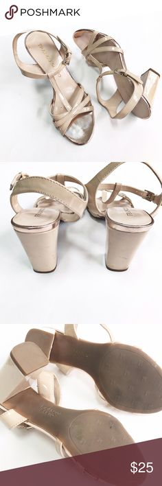Franco Sarto Tan Heels Franco Sarto tan, heels. Approximately 4in heel, ankle strap. The metallic finish looks rose gold. Classy, versatile heel. Picture show marks on heel and distress on front toe. Franco Sarto Shoes Heels