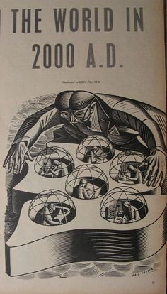 The World in 2000 AD, illustration by Eric Fraser, 1955