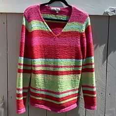 COLDWATER CREEK Sweater with stripes of red, fuchsia, yellow and blue.  Crocheted ribbon. Nylon/Acrylic blend.  Size Large.  Machine washable. Coldwater Creek Sweaters