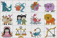Children's Zodiac Cross Stitch Motif Patterns