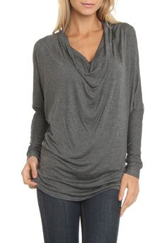 Annalee + Hope Dolman Sleeve Cowl Neck Top in Charcoal - Beyond the Rack