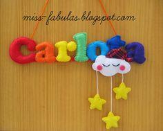 Baby name felt rainbow, cloud and stars - Nombre bebe con arco iris, nube y estrellas MAÑO en fieltro