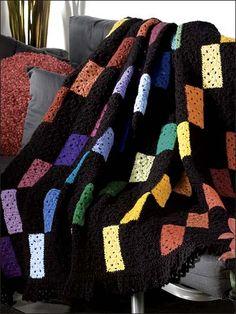 Granny's Color Palette Throw free easy crochet granny square blanket pattern
