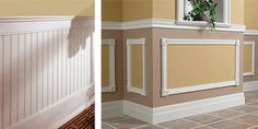 Wainscoting.  I want to do something like this in the master bath the break up the solid walls and match the counter line around the room.  Although, I don't want to replace my wooden trim with white...