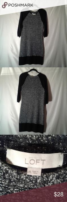 Ann Taylor LOFT Sweater Dress Size M Black, white and gray merino wool blend sweater dress in a size M. Hand wash cold and dry flat for easy care. LOFT Dresses Long Sleeve