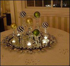 elegant sparkle at night for Christmas using black and white striped ornaments with chartreuse and lime green, clear glass candlesticks room table centerpiece ideas xmas My 2010 Christmas Dining Room Noel Christmas, Christmas Projects, Simple Christmas, Winter Christmas, All Things Christmas, Holiday Crafts, Christmas Ornaments, Glass Ornaments, Christmas Ideas