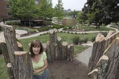 Rachel Robinson, the principle landscape architect of the new Nature Playscape next to the University of Cincinnati's Arlitt Child & Family Research and Education Center, designed a healthy play ground for kids to play in while attending the pre-school.