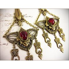 Renaissance Chandelier Earrings, Ruby, Red Jewel, Medieval Gothic... ($32) ❤ liked on Polyvore featuring jewelry, earrings, filigree earrings, clear earrings, french hook earrings, nickel free earrings and ruby jewelry