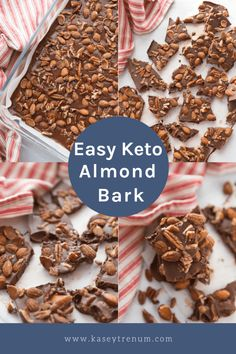 This Keto Easy Chocolate Almond Bark recipe is like a homemade candy bar with all your favorites. A great gift idea for all your keto friends and family on your list. Low Carb Desserts, Low Carb Recipes, Dessert Recipes, Healthier Desserts, Delicious Desserts, Snack Recipes, Cooking Recipes, Keto Cookies, Cookies Et Biscuits