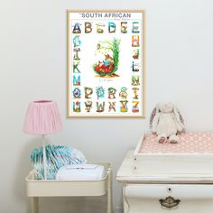 This November, SAVE 20% on all my South African Animal Alphabet gifts! 🛒 Shop online. 🌍 World-wide shipping available. #babynursery #animalalphabet www.thehappystrugglingartist.co.za Giraffe, Elephant, Animal Alphabet, Good Spirits, Baboon, Hyena, African Animals, Playroom, Baby Shower Gifts