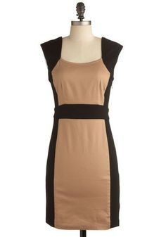 Coffee With Me Dress - Brown, Black, Special Occasion, Party, Work, Sheath / Shift, Sleeveless, Mid-length