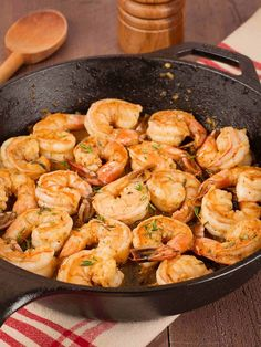 Old Bay Shrimp Sauté: Served over rice, this quick and easy shrimp sauté gets its delicious flavor from a combination of Old Bay Seasoning, lemon, Tabasco, Worcestershire and fresh thyme. (Bake Shrimp Old Bay) Sauteed Shrimp Recipe, Baked Shrimp, Shrimp Recipes Easy, Fish Recipes, Seafood Recipes, Cooking Recipes, Healthy Recipes, Parmesan Shrimp, Steamed Shrimp