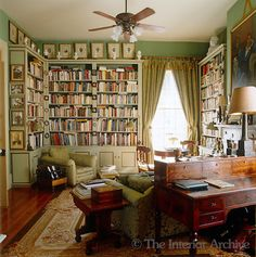 A collection of miniatures is displayed on the custom made bookcase whilst the dark wooden writing desk and side table add a touch of masculinity to this elegant library Interior Exterior, Interior Design, Library Room, Green Library, Library Ideas, Future Library, Southern Living Magazine, Home Libraries, My New Room