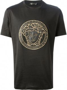 Versace Medusa embroidered T-shirt, Black cotton and leather Medusa embroidered T-shirt from Versace featuring a round neck, short sleeves and a gold-tone Medusa embroidered design on the front. Versace Jeans Mens, Versace T Shirt, Versace Men, Best T Shirt Designs, Shirt Print Design, Best T Shirt Brands, T Shirt Websites, Marca Versace, Shirt Makeover