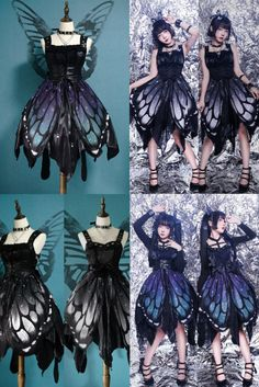 The Butterfly of the Night Gothic Lolita Corset JSK (Normal Waist Version),Lolita Dresses, Casual Cosplay, Cosplay Outfits, Anime Outfits, Mode Outfits, Skater Outfits, Scene Outfits, Disney Outfits, Pretty Outfits, Pretty Dresses