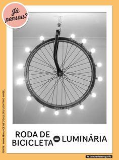 Ilumine sua casa com uma roda de bike! #luminária