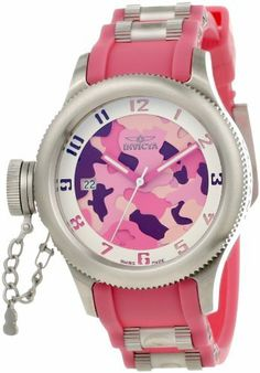 Invicta Women's 11360 Russian Diver Two Tone Pink Camouflage Dial Pink Polyurethane Watch Invicta. $298.50. White second hand. Mineral crystal; stainless steel case; pink polyurethane strap with stainless steel barrel inserts. Swiss quartz movement. Two tone pink camouflage dial with pink and white hands, white cut-out Arabic numerals; secured screw-down cap on crown at 9:00