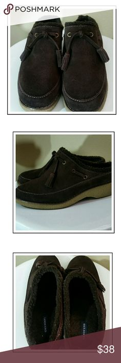 LANDS END BROWN SUEDE SLIP ONS..7.5 Brown suede with tassels.  Lots if wear left. Rubber sole Lands' End Shoes Mules & Clogs