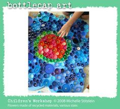 bottle cap art fr www.artgrange.com I only need a few thousand more bottle caps! Wish she (Michelle Stitzlein) would sell posters of her own found object work.