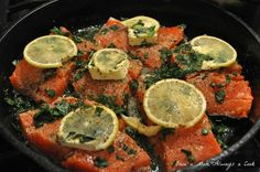 Salmon baked in cast-iron skillet :: made this for dinner tonight and it was a big hit!