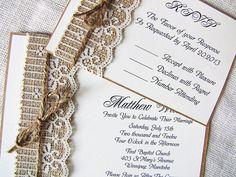 beautiful burlap and lace invitation
